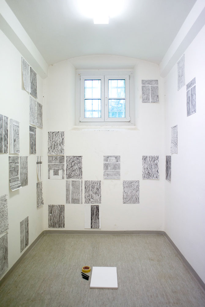 My contribution was collecting signs and traces of wear and usage preserved in the building's surfaces using frottage. Visitors are invited to contribute to the exhibition by searching for clues and transferring textures on paper themselves.