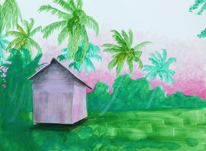 o.T. (Andaman hut), acrylic on paper, 36x48cm