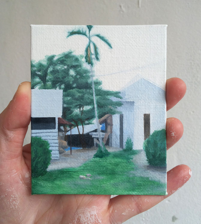 o.T. (pale blue house), oil on canvas on cardboard, 10 x 6 cm