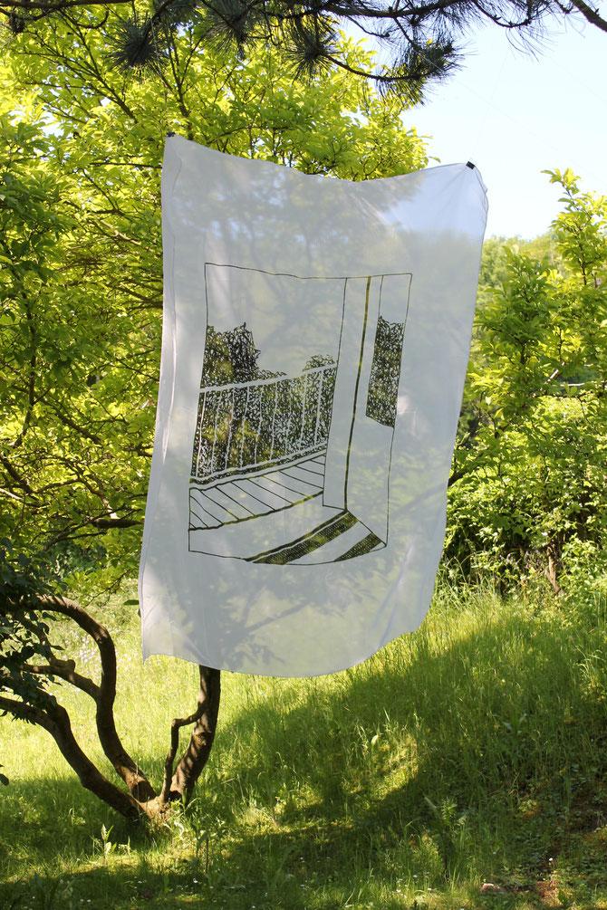 balcony (Vienna), textile print, 220 x 140 cm