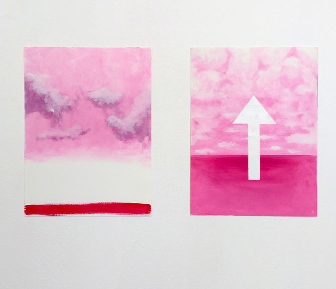 pink magenta landscape arrow clouds oil painting