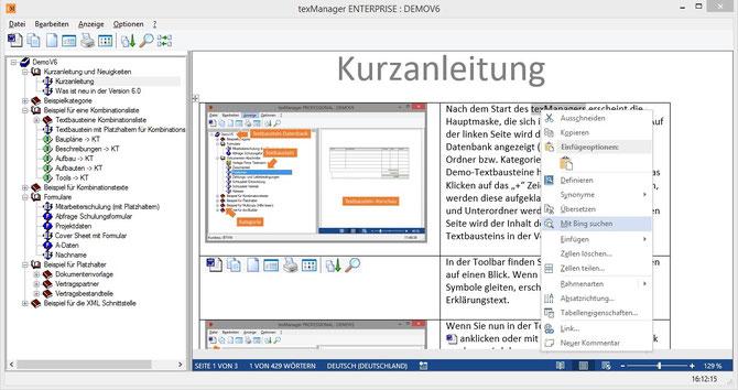 Textbausteinvorschau mit Internetrecherche
