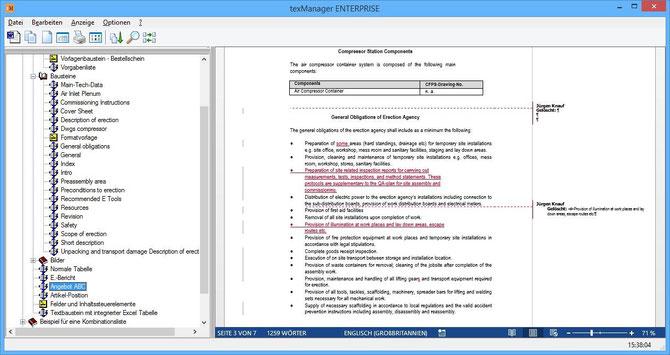 Änderungsverfolgung der Textbausteine