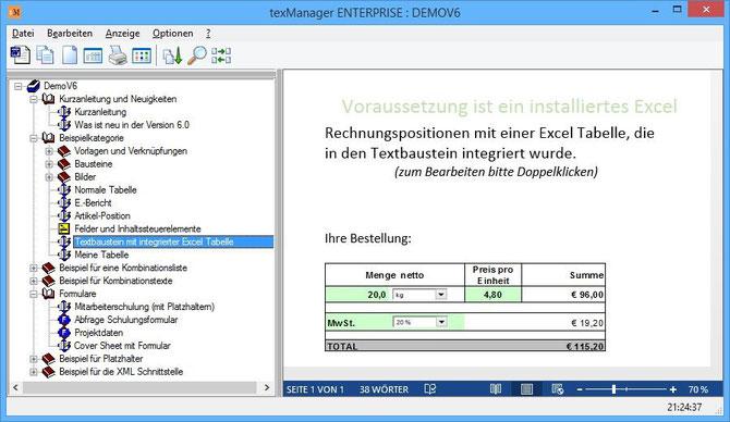 Textbaustein mit integrierter Excel-Tabelle