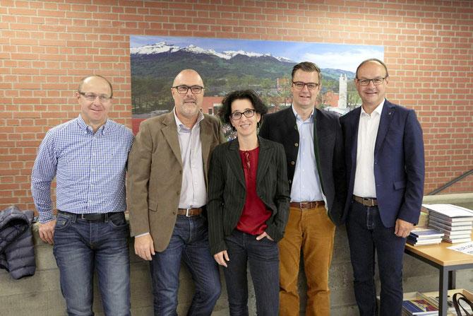 Der LGE-Vorstand 2017/18 (v.l.): Peter Göppel, Beisitzer; Marcello Scarnato, Säcklwart; Beatrice Ortler-Hilti, neue Vizepräsidentin; Daniel Bargetze, Präsident; Eugen Nägele, LG-Rektor Mitglied ex officio.
