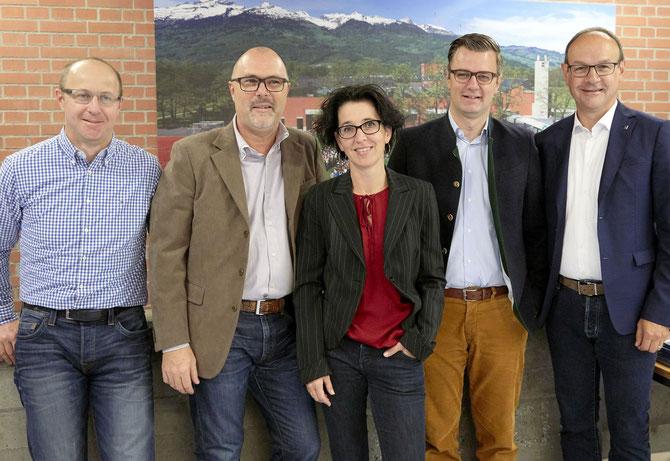 Der LGE-Vorstand 2018-2021 (v.l.): Peter Göppel, Beisitzer; Marcello Scarnato, Säcklwart; Beatrice Ortler-Hilti, Präsidentin; Daniel Bargetze, Vizepräsident; Eugen Nägele, LG-Rektor Mitglied ex officio.