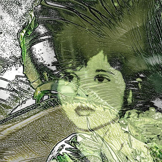 Angepasst (aus der Serie GRÜN), Canvas, 80 x 80 cm