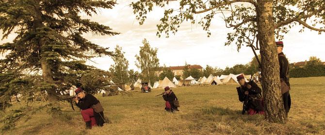 Escarmouche à proximité d'un camp - Région de Verdun, début 1914
