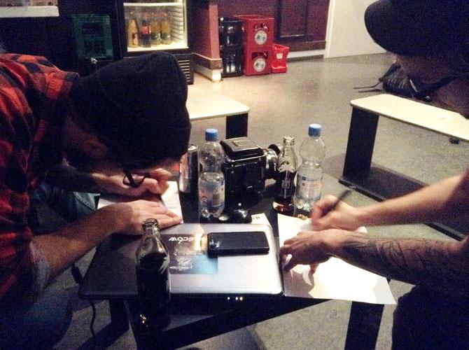 """Max und Panzer zeichnen ihren """"typischen Morgen nach einem Konzert"""""""