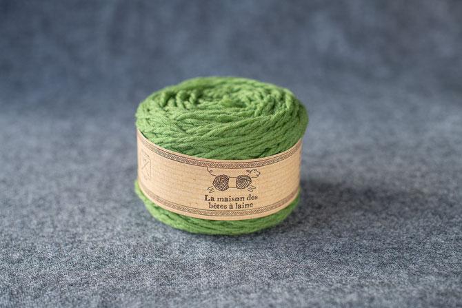 Pure laine des Alpes françaises      Pelote 50grs coloris Vert prairie Aig.5-6 - 96m