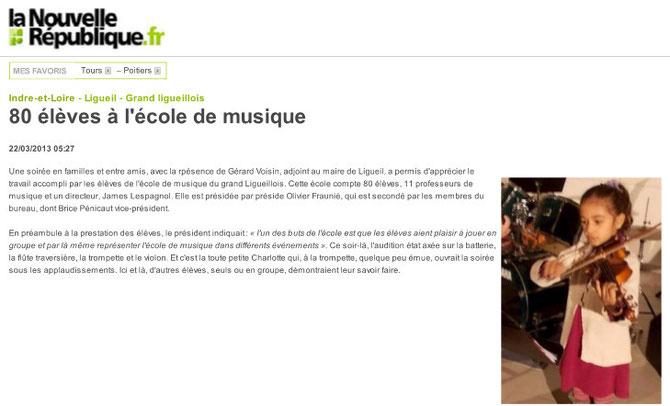 Article Nouvelle République 22 mars 2013