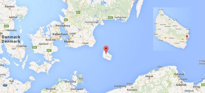 L'Île de Bornholms, Danemark. En haut à gauche: Ville de Nexø
