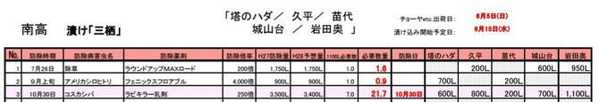 南高梅【ネット収穫】防除歴 format