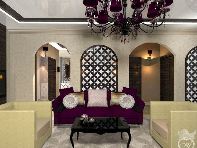 Восточная гостиная в стиле минимализм