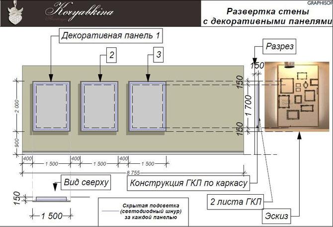 Чертеж декоративного панно. фото