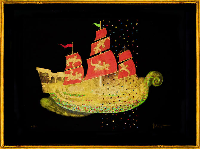 """ Piraten Schiff "" Fine Art Print with Swarovski Crystals and gilded from hand, 160 Prints"