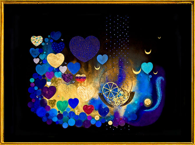 """ Tango Hearts "" Mixmedia with Swarovski Crystals and metal foils"