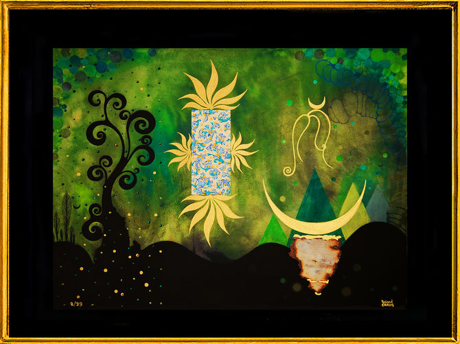 """ Green Spirits 1 "" Fine Art Print with Swarovski Crystals and gilded from hand, 99Prints"