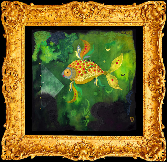 """ Goldfish 2 "" Fine Art Print, gilded from hand, One print only"