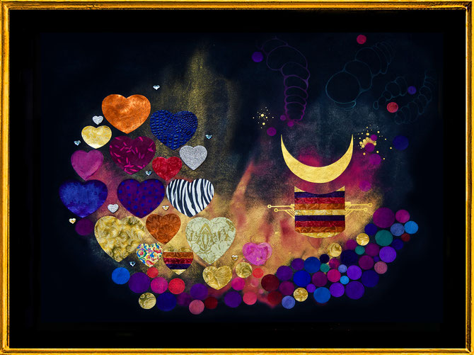 """ African Hearts "" Mixmedia with Swarovski Crystals and metal foils"