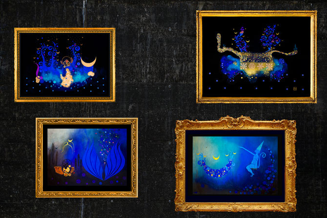 """ Night Trip "" ""Night Trip 2 "" "" Nightflowes "" and "" Magician`s Apprentice "" are original paintings with Swarovski Crystals and metal foils"