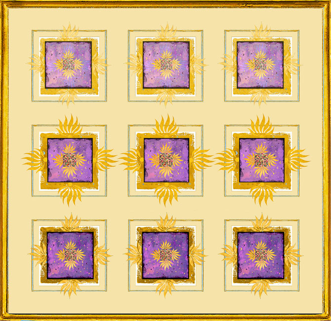 """ Magic Scarf "" Block Gold Lilac 1  Print on silk and paper, gilded from hand"