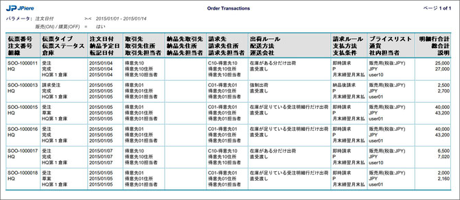 受発注伝票レポート(Order Transactions)