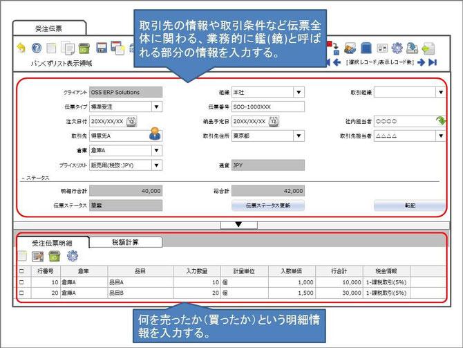 伝票の画面構成:伝票はヘッダー情報(鑑)と明細情報にタブで分かれて表示されます。