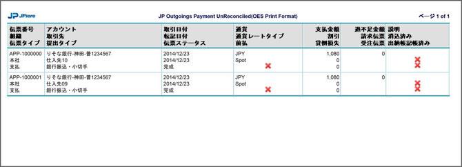 出納帳に記帳していない支払伝票チェックリスト(サンプル)