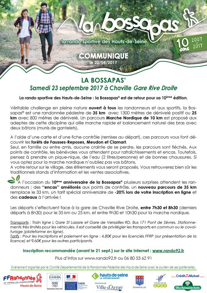 Communiqué La Bossapas 2016