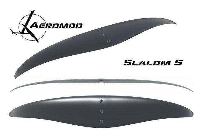 Vue numérique en 3 dimensions de l'aile slalom s, pour le windfoil aeromod v2