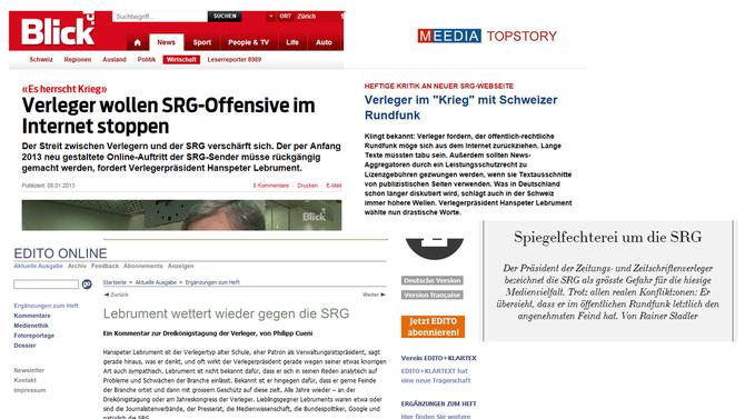 Collage Medienberichte zum Krieg der Verleger gegen die SRG