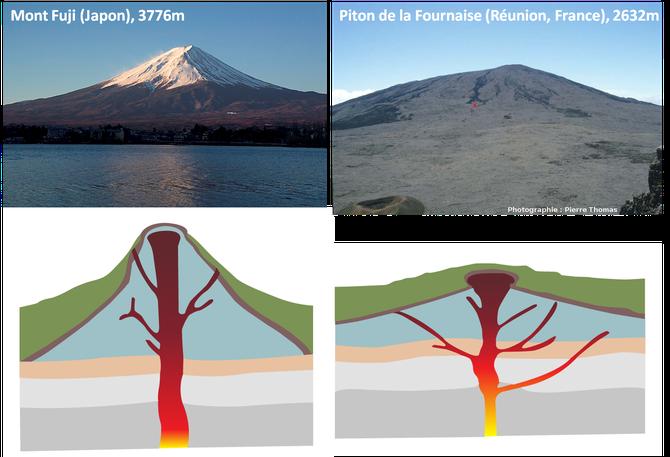 Deux exemples de volcans et leu schéma interprétatif non légendé. A vous de vous entrainer pour comprendre leur forme. Sources: wikipédia (Mont Fuji) et Planète Terre, ENS Lyon, Pierre Thomas (Piton de la Fournaise).