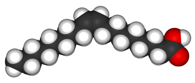 Exemple de lipide : l'acide oléique (= huile d'olive) de formule C18H34O2.