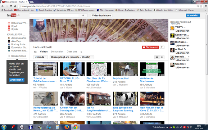 Mein YOUTUBE Kanal.