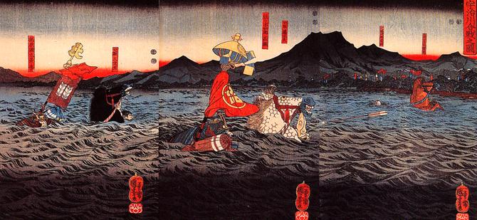 宇治川の先陣争い。 白馬「生月」に乗った武士が佐々木高綱、黒い馬「磨墨」に乗った武士が梶原景季である。