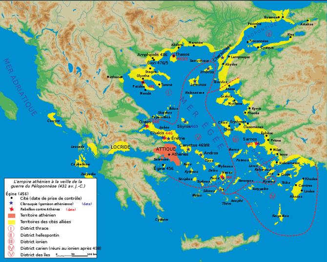 La ligue de Délos en 431 av. J-C.      By Marsyas/Wikimedia [CC BY-SA 3.0]