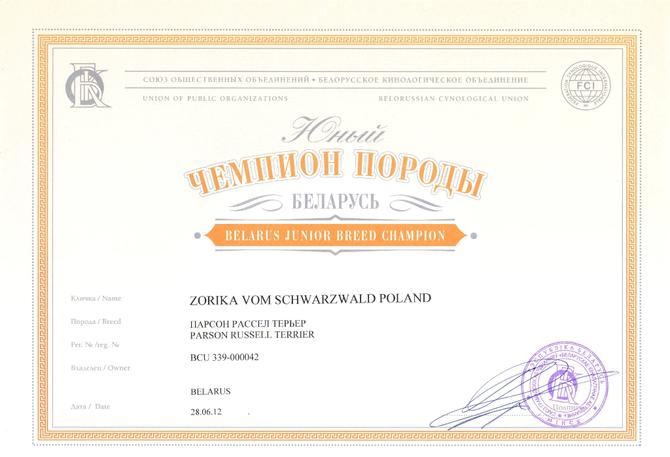 Юный Чемпион Породы Республики Беларусь