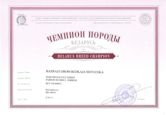Чемпион Породы Республики Беларусь