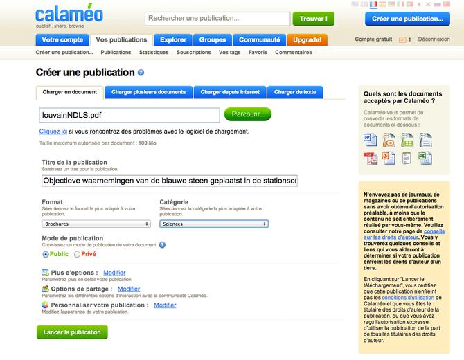 Ajouter un document PDF sur Calaméo
