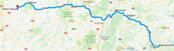 Route am 1. Tag der Pfingsfahrt 2018 - 21.05.2018