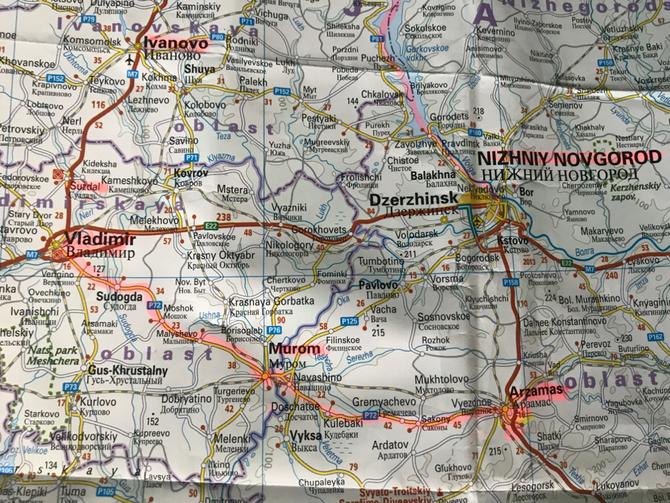 Route Ivanovo - Suzdal - Vladimir - Arzamas, 28. und 29. August