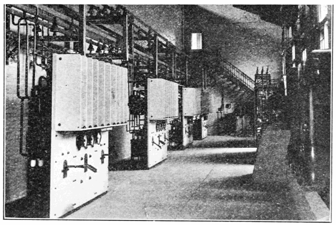 "11,000-volt Switchboards and Bars in ""Step up"" transformers of the Niagara Power Company Canada. 1908"