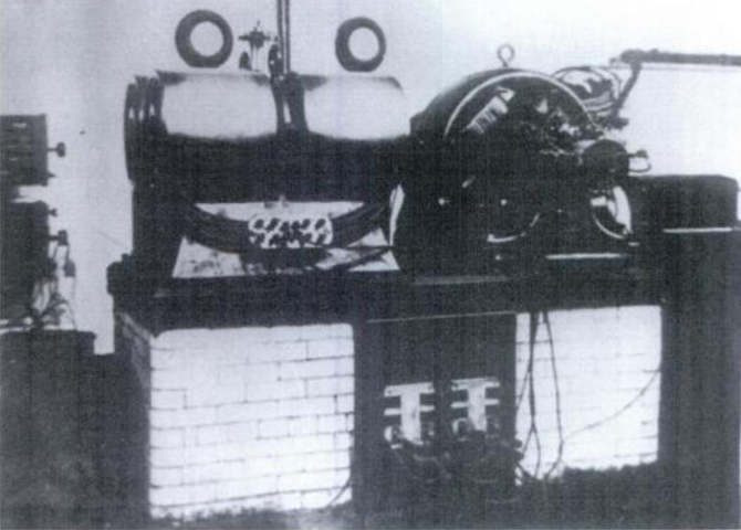 Figure 27. Large mechanical and electrical oscilator with four vibrating parts installed in the laboratory at 46 E. Houston Street, for furnishing isochronous currents of desired wave frequencies, phases and beats.