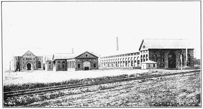 Power house nos 1 and 2 with the step up transformer house USA (American side). 1908