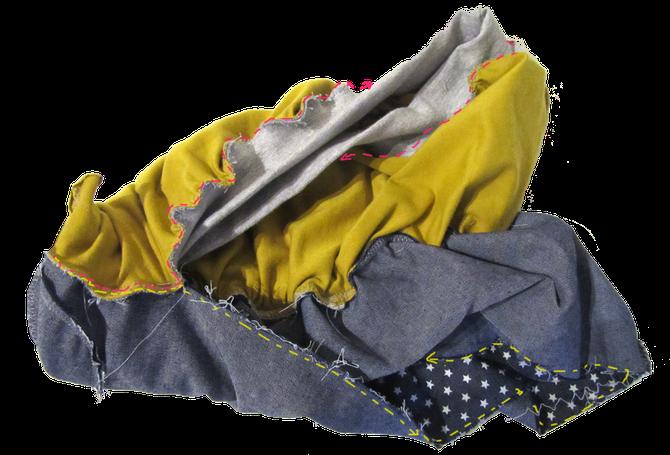 Tutorial: Lybstes. Ballonrock zum Wenden, Bubbleskirt Wenderock, blauer Jeansstoff mit Sternen + Senfgelb