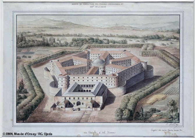 DESSIN DE LA PETITE ROQUETTE par Louis-Hippolyte LEBAS (1782-1887)