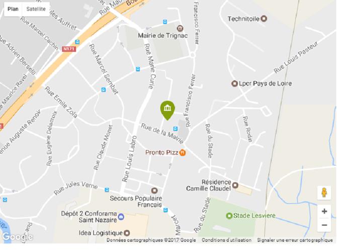 MAIRIE : 11 PLACE DE LA MAIRIE 44570 TRIGNAC. Tel. 02 40 45 82 25   Fax. 02 40 90 38 84