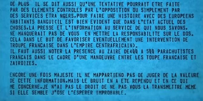 20 AOÛT 1979.   TELEGRAMME DE JEAN-PIERRE DUPONT, ORDONNATEUR DU SACRE et BARBOUZE  à SES HEURES. MAIS BOKASSA  S'EN VA VOIR KHADAFI. EN FAIT LA FRANCE LUI AVAIT PROPOSE UNE RENTE EN ECHANGE DE SON ABDICATION. LAS !