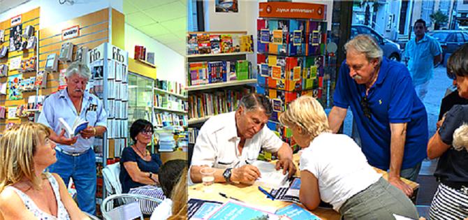 """FREJUS. LIBRAIRIE CHARLEMAGNE. VARTAN BERBERIAN SIGNE """"LE FIGUIER DE MON PERE"""" (EDITIONS ANNE CARRIERE°) à LA SOIREE AGAVE.VENDREDI 11 JUILLET 2014. AVEC NOS REMERCIEMETS au PETIT ECRIVAIN (VOIR LIEN CI-DESSUS)."""